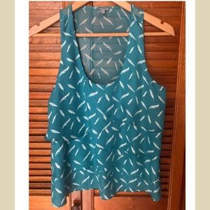 Teal Feather Tier Layered Top